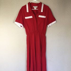 Red and white vintage dress